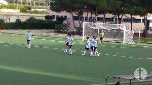 La gioia dei biancazzurri per il gol siglato all'andata